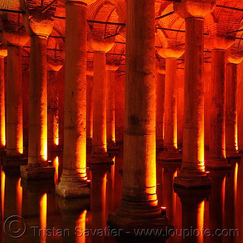 columns - basilica cistern (istanbul), basilica cistern, columns, reflection, sultanahmet, vaulted, vaults, water, yerebatan sarayı, yerebatan sarnıcı