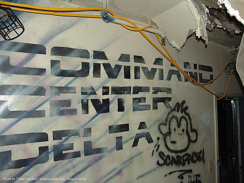 command-center-delta - stencil - abandoned hospital (presidio, san francisco) - phsh, abandoned building, abandoned hospital, command center delta, decay, font, graffiti, presidio hospital, presidio landmark apartments, stencil, trespassing