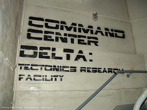 command-center-delta - stencil - tectonics research facility - abandoned hospital (presidio, san francisco) - phsh, abandoned building, abandoned hospital, command center delta, decay, font, graffiti, presidio hospital, presidio landmark apartments, stencil, tectonics research facility, trespassing