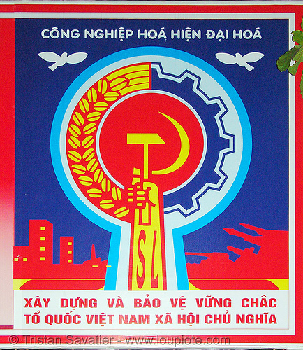 communist sign in moc chau - vietnam, communist sign, hammer and sickle, propaganda