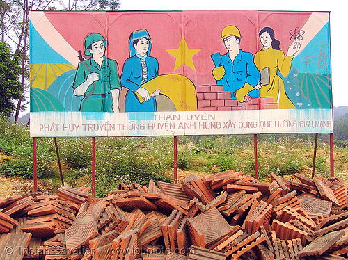 communist sign in than uyen - vietnam, propaganda