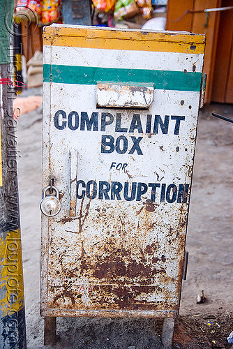 complaint box for corruption, anti-corruption, complaint box, india, ladakh, leh, padlock, लेह