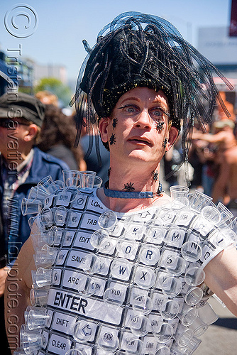 computer keyboard costume - dore alley fair (san francisco), computer keyboard, costume, fashion electronics, makeup, man, plastic flies, wearable technology