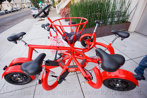 conference bike - cobi, cobi bike, conference bike, eric staller, human powered, pedal powered, red, street, vehicle