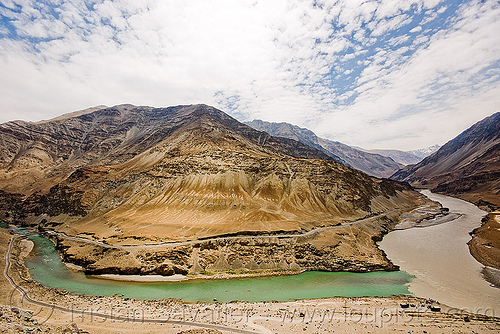 confluence of zanskar and indus rivers - ladakh (india), confluence, indus river, ladakh, mountains, rivers, sangam, zanskar river