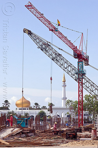 construction cranes - mosque, borneo, building construction, construction site, construction workers, cranes, islam, malaysia, man, minaret, miri, mosque, rebars, safety helmet, tower