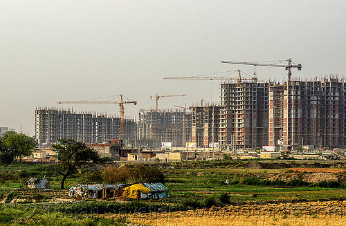 "construction of the planned urban developments ""gaur city 1"" & ""gaur city 2"" in greater noida (india), building construction, buildings, construction cranes, gaur city, greater noida, india, planned city, urban development, urban planning"