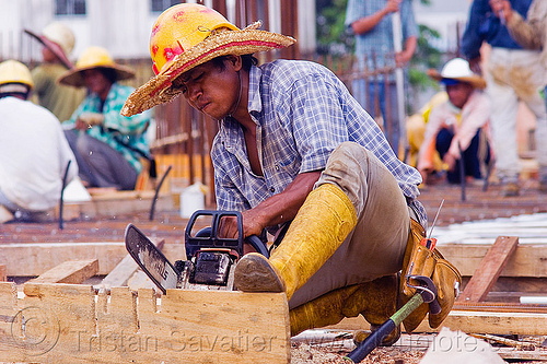 construction worker cutting timber to make concrete formwork, building construction, chainsaw, concrete forms, concrete wall forms, construction site, construction workers, formwork, lumber, man, miri, plank, rubber boots, safety helmet, straw hat, sun hat, timber, working