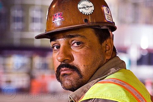 construction worker - raúl, construction, demolition, high-visibility jacket, high-visibility vest, man, moustaches, mustaches, night, ntk, raúl, reflective jacket, reflective vest, safety helmet, safety vest, worker