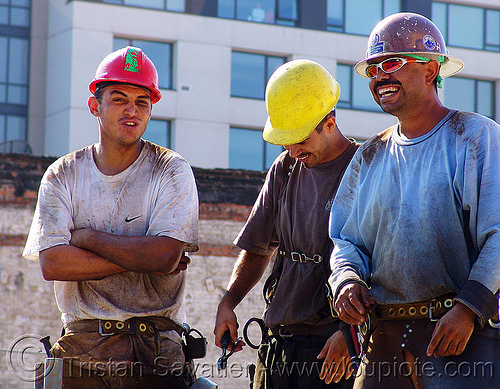 construction workers (san francisco), builders, building construction, construction workers, construction zone, men, safety helmets