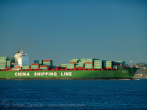 container ship - china shipping line, blue, boat, box ship, cargo ship, china shipping line, chinese, container ship, containers, green, ocean, red, sea