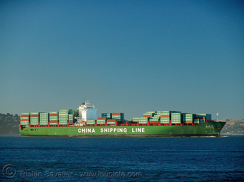 container ship - china shipping line, blue, boat, box ship, cargo, cargo ship, chinese, containers, green, ocean, red, sea