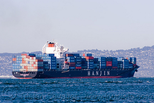 container ship - hanjin montevideo, boat, box ship, cargo ship, container ship, containers, hanjin montevideo, ocean, sea, shipping, south korean