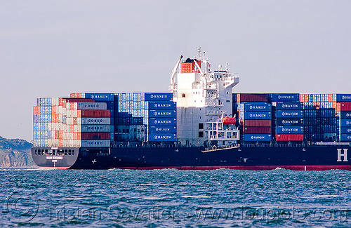 container ship - hanjin montevideo (from south korea), boat, box ship, cargo ship, container ship, containers, hanjin montevideo, shipping, south korean