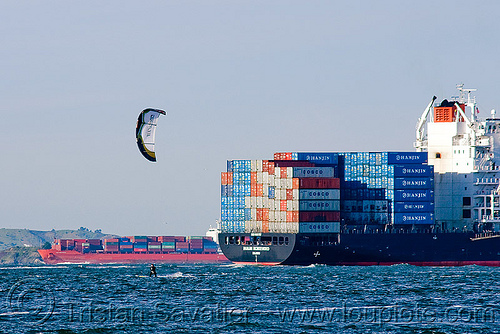 container ships and a kite surfer (san francisco), boat, box ships, cargo ships, container ships, containers, hanjin montevideo, kite surfer, ship, shipping, south korean