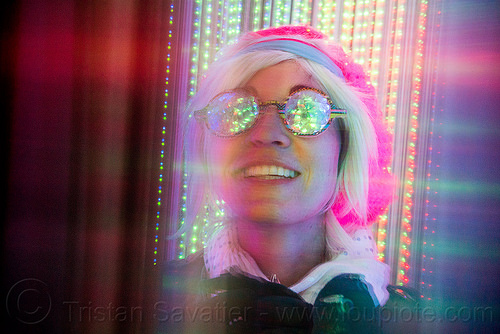 convulsatorium - burning man 2015, art installation, burning man, convulsatorium, cris wagner, glasses, glowing, led lights, night, woman