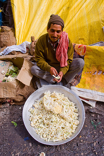 cook preparing cauliflower in langar (free community kitchen) - amarnath yatra (pilgrimage) - kashmir, amarnath yatra, community kitchen, cooking, cooks, food, free kitchen, hiking, hindu pilgrimage, india, kashmir, langar, man, pilgrim, trekking