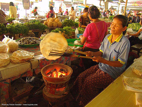 cooking pancakes in a market - thailand, asian woman, cooking, fire, pancakes, thailand
