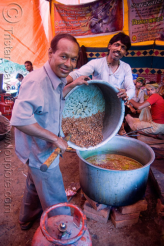 cooks preparing food in large pots - langar (free community kitchen) - amarnath yatra (pilgrimage) - kashmir, cooking, cooking pots, men, people, sikh, sikhism