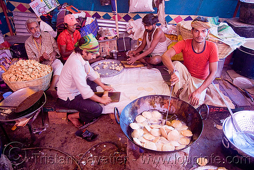 cooks preparing food - langar (free community kitchen) - amarnath yatra (pilgrimage) - kashmir, amarnath yatra, cooking oil, cooks, deepfrying, food, hindu pilgrimage, india, kashmir, kitchen, krying, langar, men, sikh, sikhism, wok