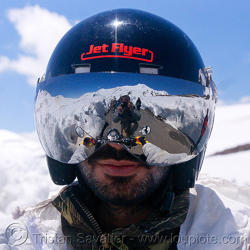 cool motorcycle helmet - himalaya - manali to leh road (india), jet flyer, ladakh, man, mirror visor, motorbike touring, motorcycle helmet, motorcycle touring, mountains, reflection, rider, riding, road, royal enfield bullet