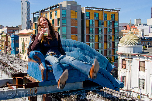 couch surfing (san francisco), abandoned, blue, couch surfing, defenestration building, roof, sitting, urban exploration, valerie, woman