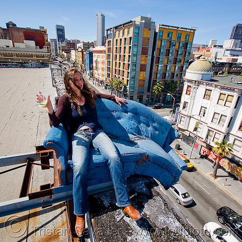 couch surfing (san francisco), blue, cars, couch surfing, defenestration building, roof, sitting, valerie, woman