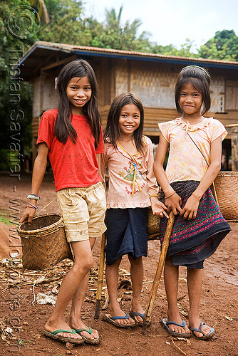 country girls (laos), child, country, farm, girls, kids, little girl