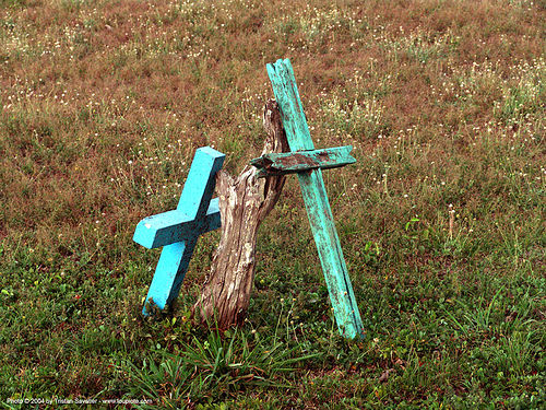 countryside cemetery - loose crosses, blue, cemetery, costa rica, cross, crosses, graveyard