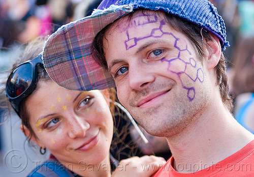 couple at the how weird festival 2011 (san francisco), couple, facepaint, how weird festival, liz, man, woman