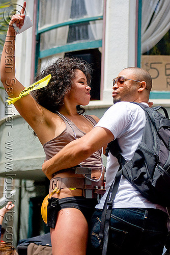 couple dancing - house party, bay to breakers, costume, dancing, footrace, man, street party, woman