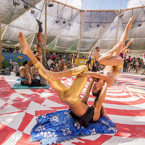 couple doing acro-yoga - burning man 2015, acro-yoga, burning man, jordan, woman