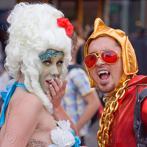 couple in weird vampires costumes - how weird street fair (san francisco), bindis, costume, facepaint, golden chain, golden helmet, man, marie antoinette wig, mostumes, red sunglasses, vampires