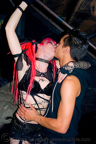 couple kissing - passionate kiss, couple kissing, french kiss, jason, love, lovers, making out, night, party, pink, raver outfits