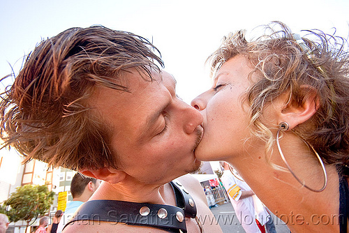 couple making out, couple, folsom street fair, french kiss, maddie, making out, man, tongue kissing, woman