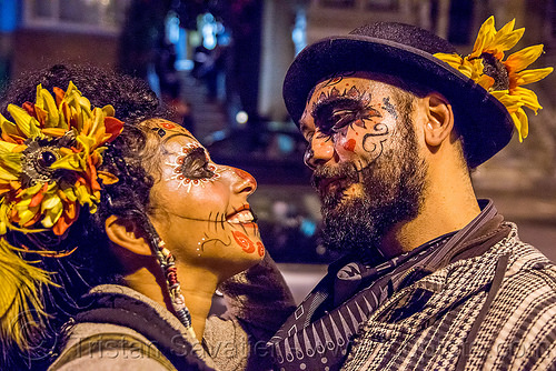 couple with sugar skull makeup - dia de los muertos, beard, day of the dead, dia de los muertos, face painting, facepaint, halloween, hat, man, night, sahar, sugar skull makeup, woman