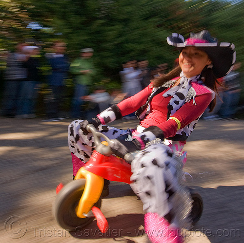 "cowgirl - BYOBW - ""bring your own big wheel"" race - toy tricycles (san francisco), big wheel, byobw 2011, cowgirl costume, drift trikes, moving fast, potrero hill, race, speed, speeding, toy tricycle, toy trike, trike-drifting, woman"