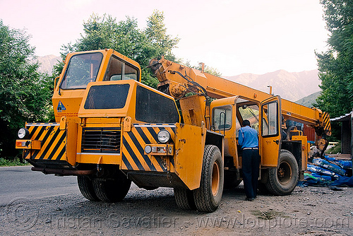 crane truck, crane truck, ecel, escorts mac-1214, heavy equipment, hydraulic, kashmir, machinery, mobile crane, road, truck crane, yellow