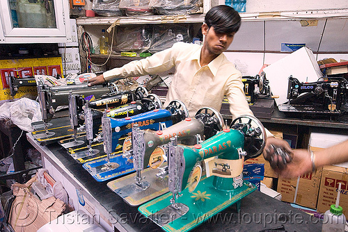 crank sewing machines - shop - delhi (india), bazar, crank sewing machine, man, merchant, paras, people, royal, silco, vendor