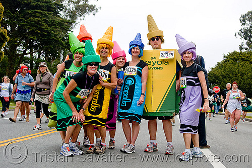 crayola costumes, bay to breakers, costumes, crayolas, festival, footrace, runners, street party, woman