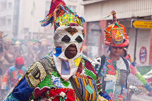 creole traditional mask - choukaj at the carnaval tropical de paris, caribbean, carnaval tropical, choukaj, colorful, costumes, creole, créole, guadeloupe, indigenous culture, mask, masked, parade, paris, traditional, tribal, west indies