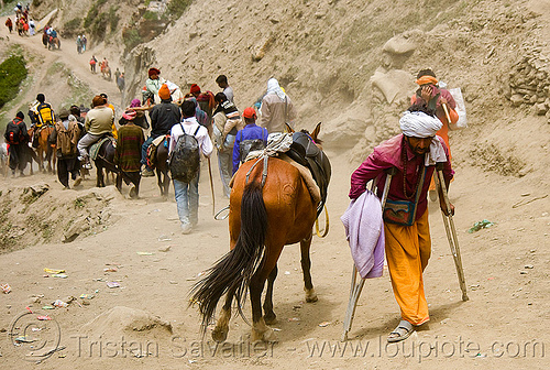 crippled man on trail - sadhu (hindu holy man) - amarnath yatra (pilgrimage) - kashmir, amarnath yatra, baba, hiking, hindu holy man, hindu pilgrimage, hinduism, india, kashmir, mountain trail, mountains, pilgrims, sadhu, trekking