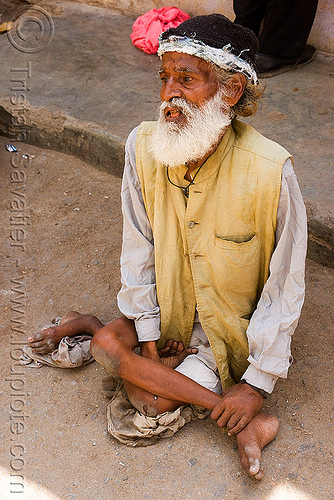 crippled beggar, beggar, begging, crippled legs, man, sitting, udaipur, white beard