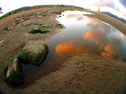 crissy field beach at sunset (san francisco), bay, clouds, crissy field, fisheye, sunset