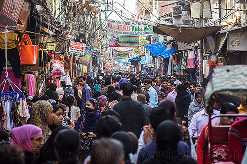 crowd in busy market street in muslim neighborhood of old delhi (india), crowd, delhi, market, street