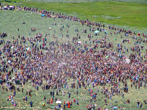 crowd in peace circle - rainbow gathering - hippie, aerial photo, crowd, hippie, peace circle, rainbow family, rainbow gathering