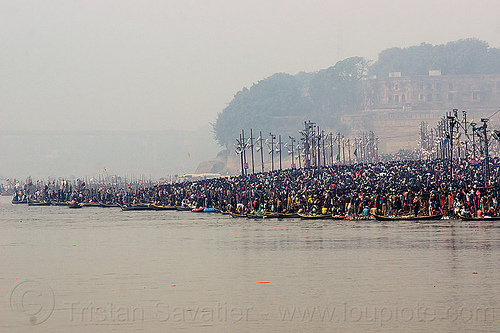 crowd of hindu devotees taking the holy dip in the ganges river at kumbh mela (india), allahabad fort, crowd, ganga river, ganges river, hindu, hinduism, holy bath, holy dip, kumbha mela, maha kumbh mela, pilgrims, river bank, river bath, river bathing, triveni sangam, water, yatris