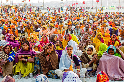 crowd of hindu pilgrims sitting - kumbh mela 2013 (india), ashram, crowd, hindu, hinduism, holy prasad, kumbha mela, maha kumbh mela, men, pilgrims, rows, sitting, women, yatris