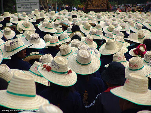 crowd with straw hats - festival near sukhothai (thailand), crowd, straw hats, sukhothai, thailand