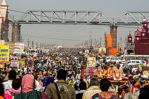 crowded street at the kumbh mela (india), crowd, hindu pilgrimage, hinduism, india, kumbh maha snan, maha kumbh mela, mauni amavasya